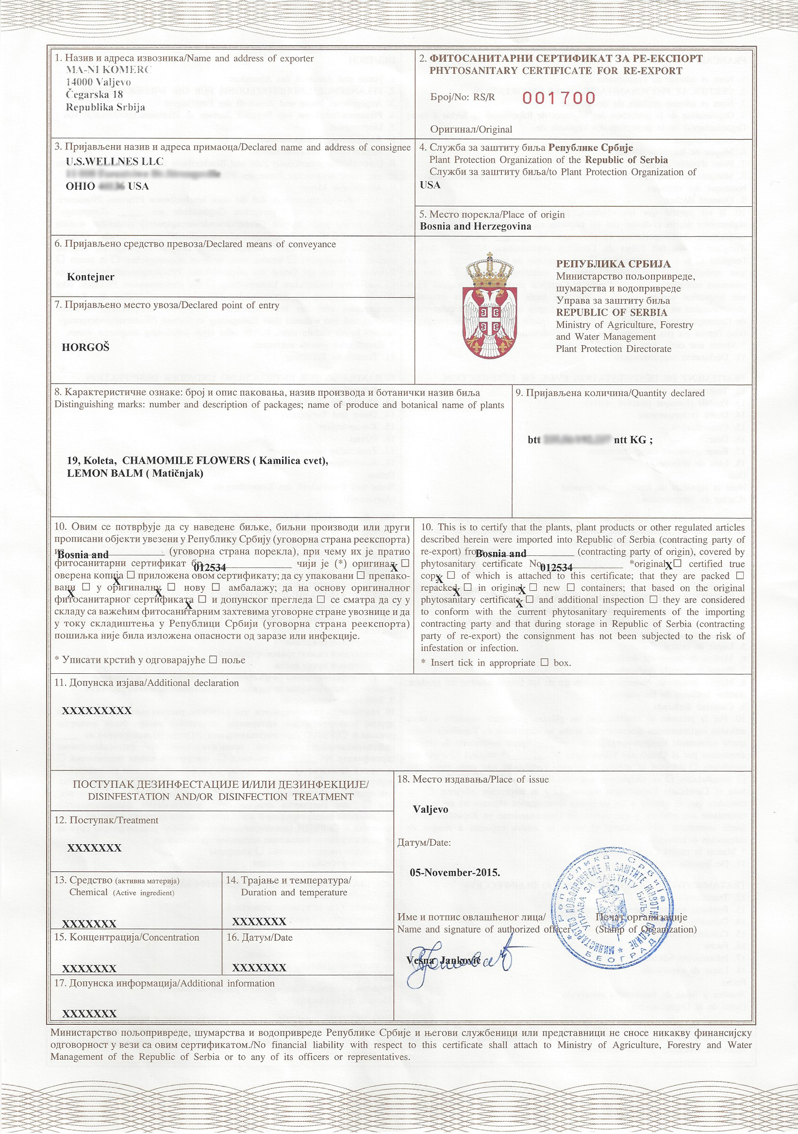 Phytosanitary certificate for CHamomile tea from Bosnia
